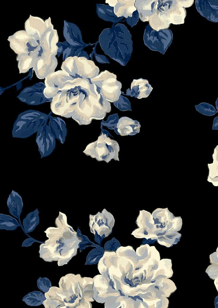 Image Shared By Amyjames Find Images And Videos About Black Art And Blue On We Heart It Th In 2021 Blue Flower Painting Blue Floral Wallpaper Blue Flower Wallpaper Blue floral wallpaper iphone