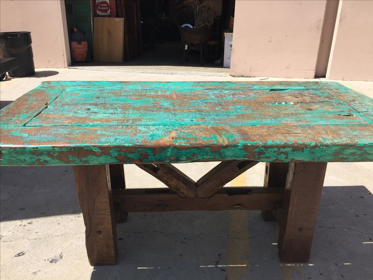 antique Mexican door dining table with original patina