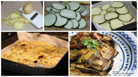 Milhojas de patata y berenjena. Receta de guarnición
