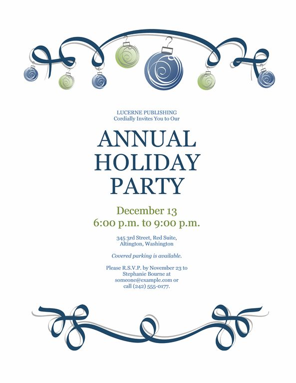 Holiday Party Invitation With Ornaments And Blue Ribbon (Formal