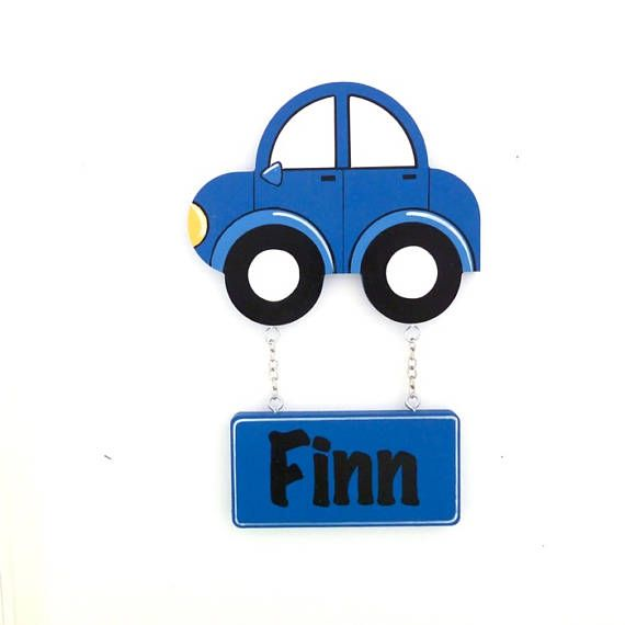 Car door sign. Kids wooden names look fantastic displayed on your childs door, bedroom or play rooms. Custom name signs make a wonderful personalised baby gift for any occasion. Each name plaque is personalised and hand painted just for you. Door signs are varnished for added protection. This also allows the plaque to be easily wiped cleaned with a damp cloth. Colours can be customised to match you nursery decor.  This listing is for Red or blue Car Door Sign/Plaque.  Motif is made of 9 ...