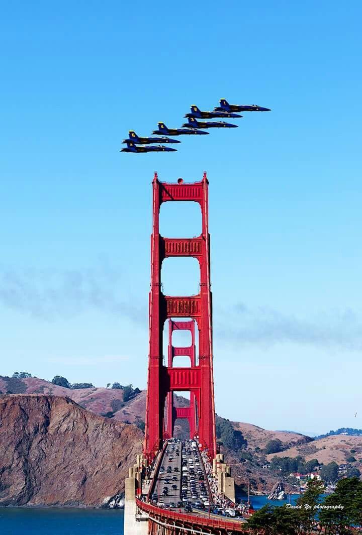 Blue angels flying over Golden Gate Bridge