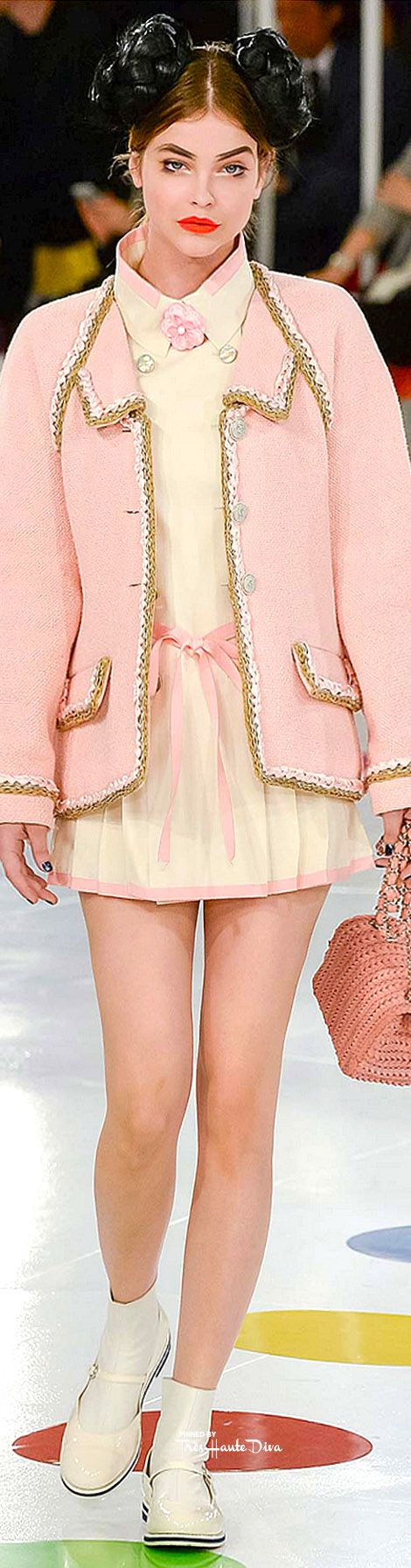 Chanel ~ Cruise Spring Pink Jacket 2 Taupe Piping over Oyster Mini Dress w Pink Accents 2016 Seoul