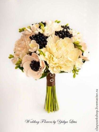 Букет невесты с цветами из полимерной глины - букет невесты,букет из глины
