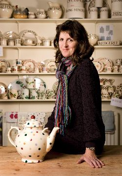 Emma Bridgewater herself, at the Aga-heated cafe at the wonderful factory in Stoke-on-Trent, Staffordshire, UK.