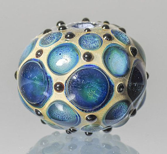 michael barley lampwork bead hollow with blue dots on etsy