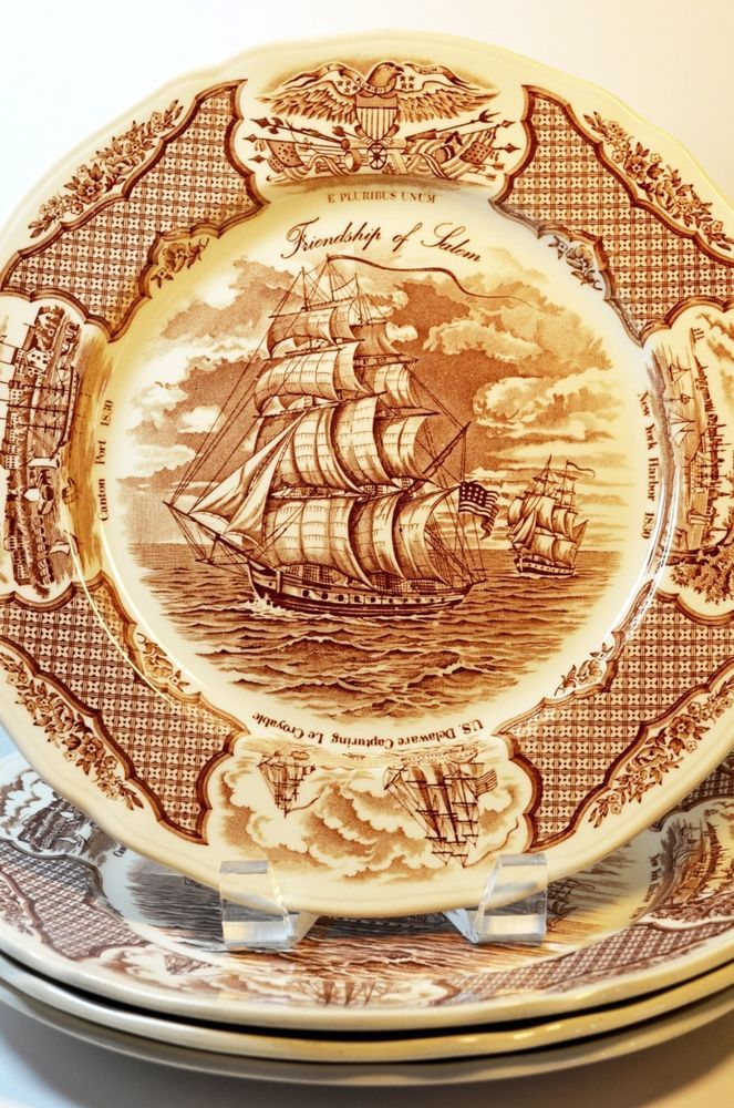 Alfred Meakin Staffordshire England Fair Winds Pattern Four Brown Dinner Plates  | eBay