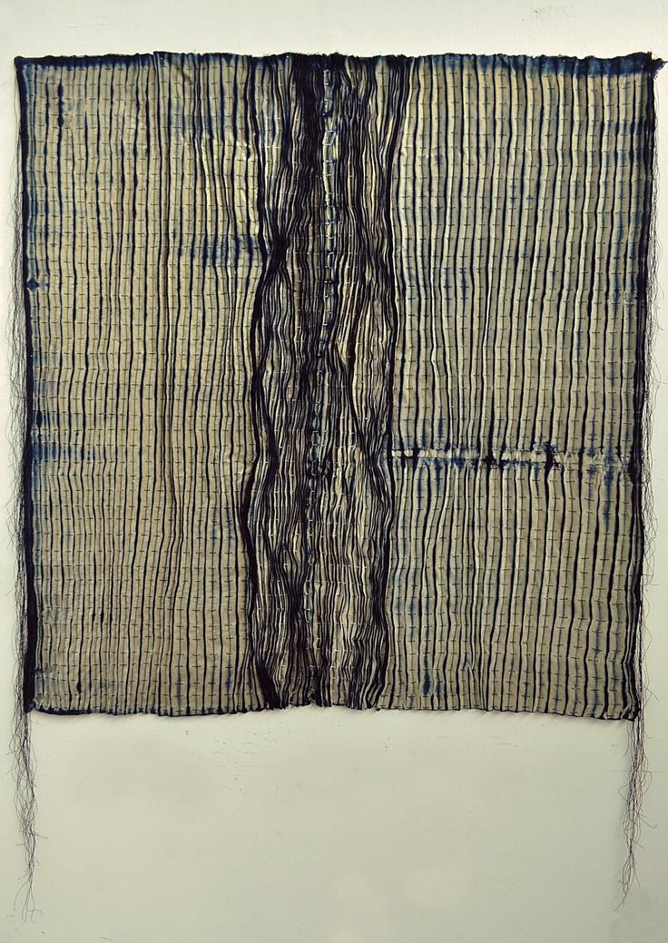 by Mariajosé Mendoza A.  Tapiz_2010 (Shibori)  Material_Terciopelo  Medidas_ 100x100cm