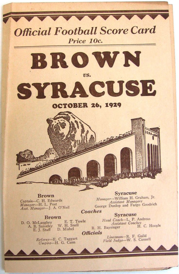 1929 Syracuse vs. Brown University Ivy League Football Scorecard