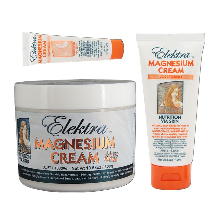Elektra Magnesium Cream 'Zest-Citrus'... Medium texture, rich and restorative. Super moisturizing. Great for relaxation massage and recovery. Lemongrass and Bergamot tones lift mood.