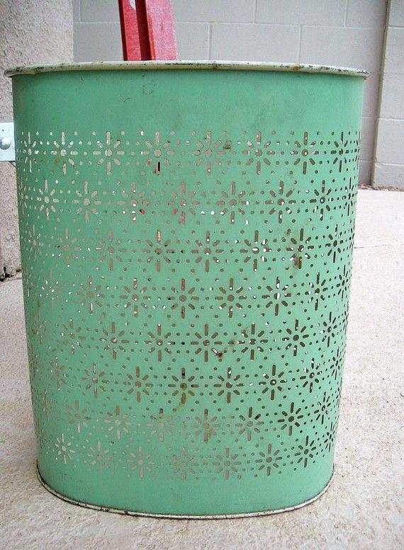 Vintage Weibro Pale Turquoise Metal Waste Basket