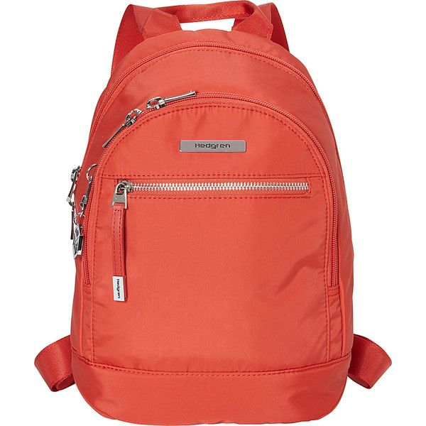 Hedgren Sheen Backpack - Baked Apple - Backpack Handbags ($85) ❤ liked on Polyvore featuring bags, backpacks, orange, orange backpack, pocket backpack, backpack bags, rucksack bags and hedgren bags