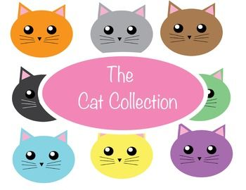 This is a full collection of cute and fun cat face clipart!