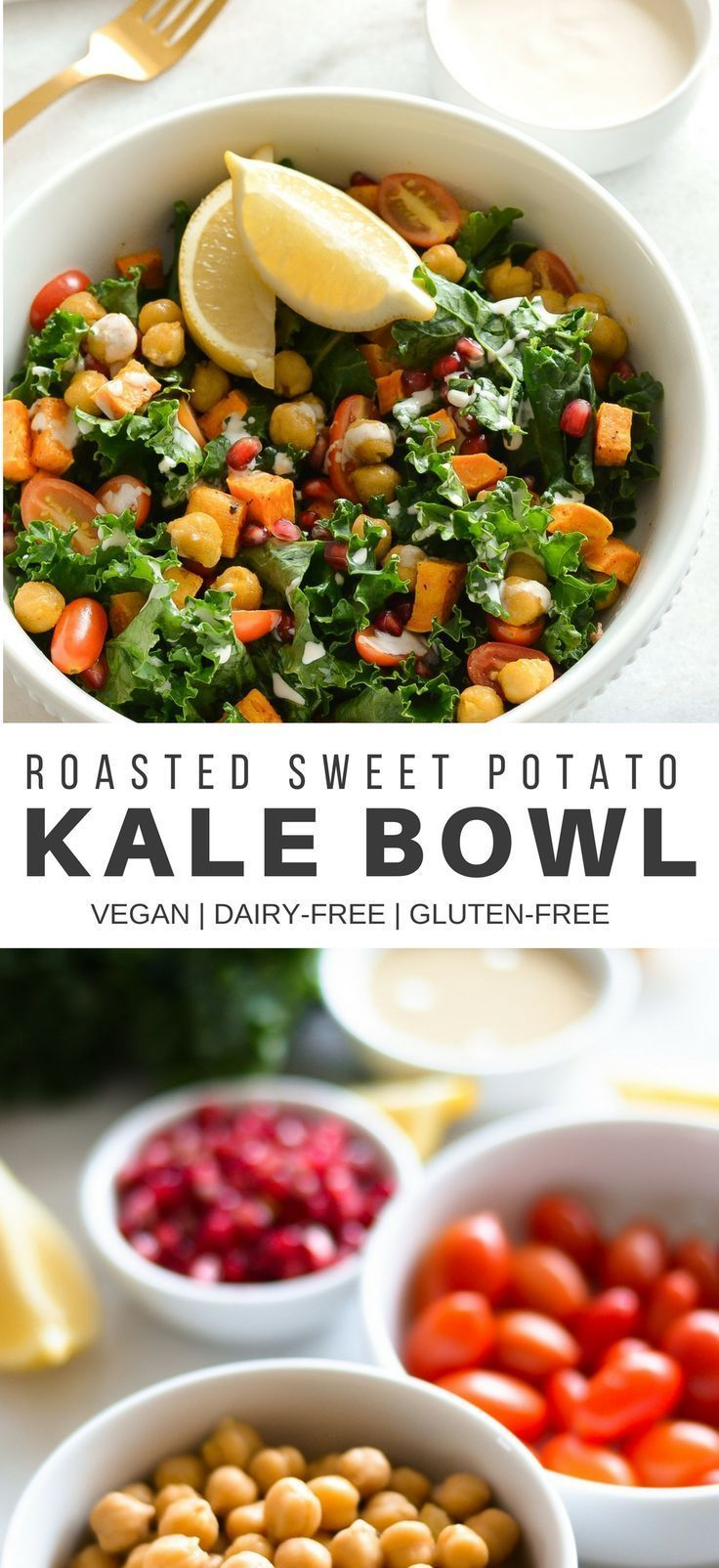 A classic, everyday bowl packed with flavor, fresh ingredients, and nutrition. Made with massaged kale, sauteed spicy chickpeas, savory roasted potatoes, tomatoes, pomegranate seeds, and a drizzle of lemon-tahini dressing, this is a great bowl to eat when