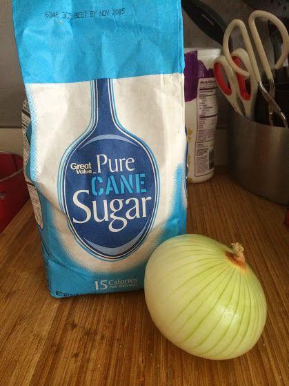 Onion and Granulated sugar to make kid's cough medicine via @amotherthing