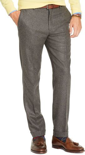 $199, Grey Wool Dress Pants: Slim Fit Wool Flannel Trouser by Polo Ralph Lauren. Sold by Ralph Lauren. Click for more info: http://lookastic.com/men/shop_items/188930/redirect