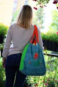 casual bag SPRING BIRD, embroidered, front page