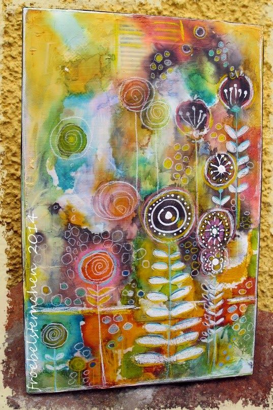 I made a Mixed Media Painting on cardboard ( measures 8 x 12 inches) - used Recycled Papers, Light Molding Paste, Alcohol Inks , Clear...