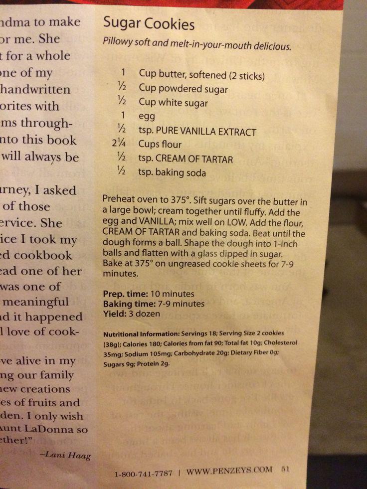 Penzey's spices Sugar Cookie Recipe