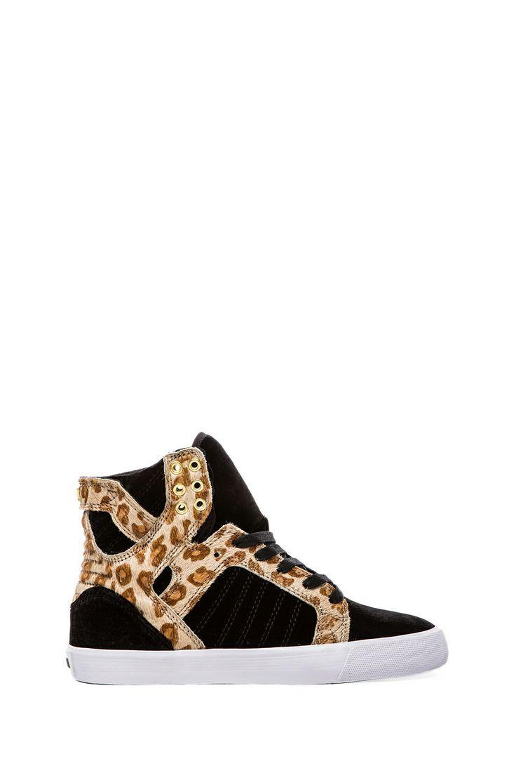 Kerin Rose x Supra A-Morir Skytop Sneaker with Pony Hair in Black Velvet & Cheetah from REVOLVEclothing $110