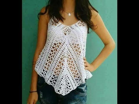 Blusa tejida a crochet - Make Knitting beautiful blouses for summer - YouTube