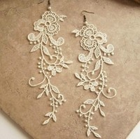 Tatted lace into Earrings