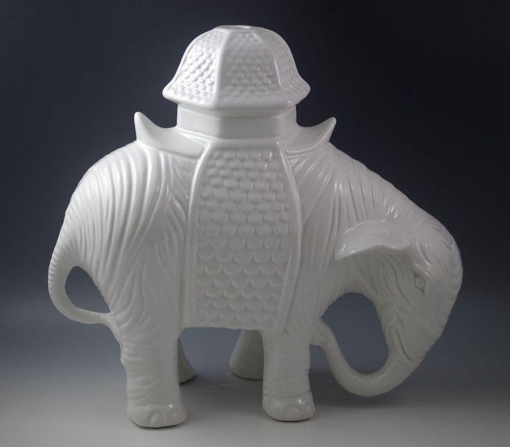 """ITALIAN CERAMIC EXTRA LARGE CERAMIC ELEPHANT LAMP BASE -WHITE 13"""" #PAULS #CHINOISERIE"""