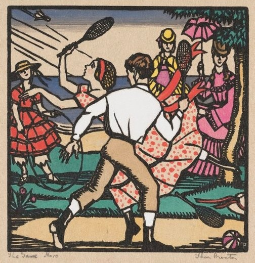 Thea Proctor  (Australia 02 Oct 1879–29 Jul 1966)    Title: The game  Year: (1926)  Media: Print  Medium: woodcut, printed in black ink, hand-coloured on ivory paper mounted on cardboard