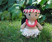 Rapanui doll - Amigurumi doll, Crochet doll, Stuffed toy, Hand knitted doll. Easter island, chilean people
