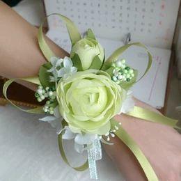 Wholesale Prom de la boda de la muñeca del ramillete colores flor de seda de Rose con las cintas blanco verde claro champán rosa rojo púrpura rosa amarillo