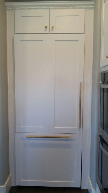 Antique White Kitchen Cabinets Ideas Custom Panels For Thermador Refrigerator With Custom Brass