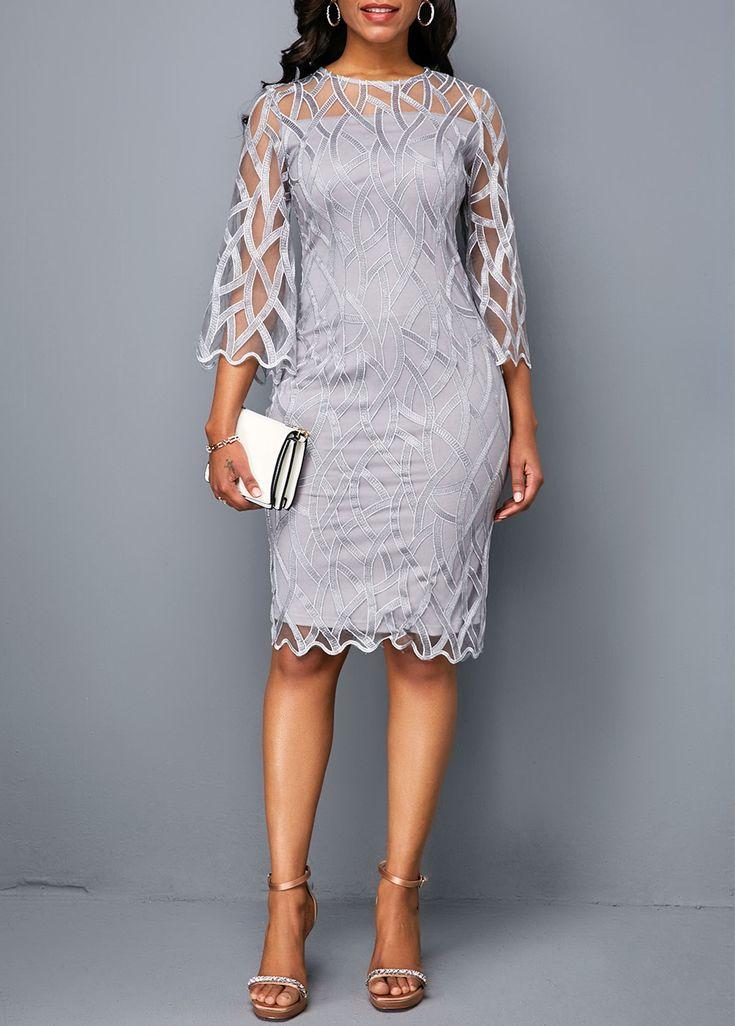 Three Quarter Sleeve Round Neck Light Grey Dress |…