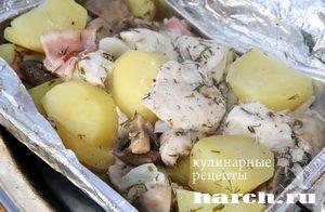 Курица с картошкой и грибами в фольге на гриле