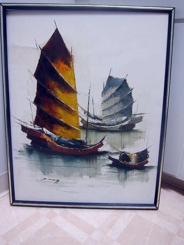Framed P Wong Vintage Chinese Junk Boats Painting Signed