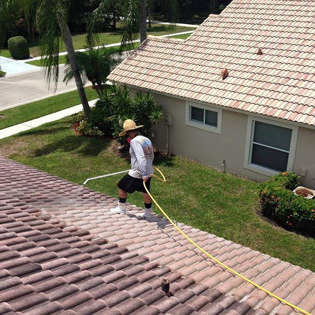 Roof Cleaning At Palm Beach Pressure Cleaning When Mold Leaves And Debris Start To Pile Up On Your Roof You Ll Need Th Pressure Washing Companies Pressure Washing Palm Beach