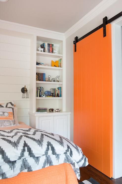 Source evensen design website orange and gray boy 39 s for Boys room accent wall
