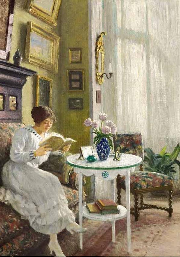 Paul Gustave Fischer (Danish painter) 1860 - 1934  Kunstnerens Hustru Musse læsende i Hjemmet på Sofievej (The Artist's Wife Musse reading at Home on Sofievej), 1917  oil on canvas