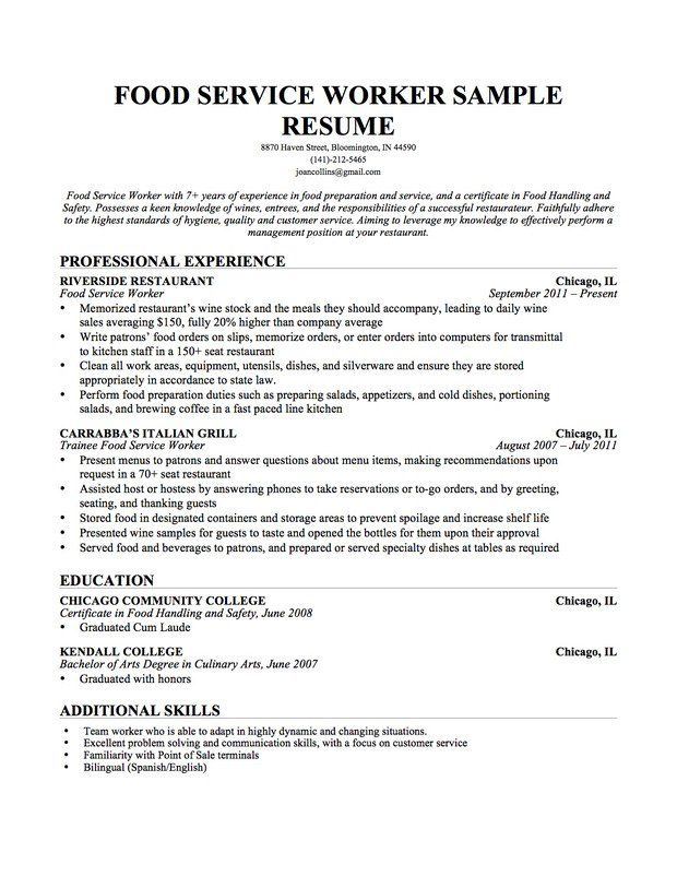 Education On Resume Examples Pinterest Sample resume and - Examples Of Resumes For Restaurant Jobs