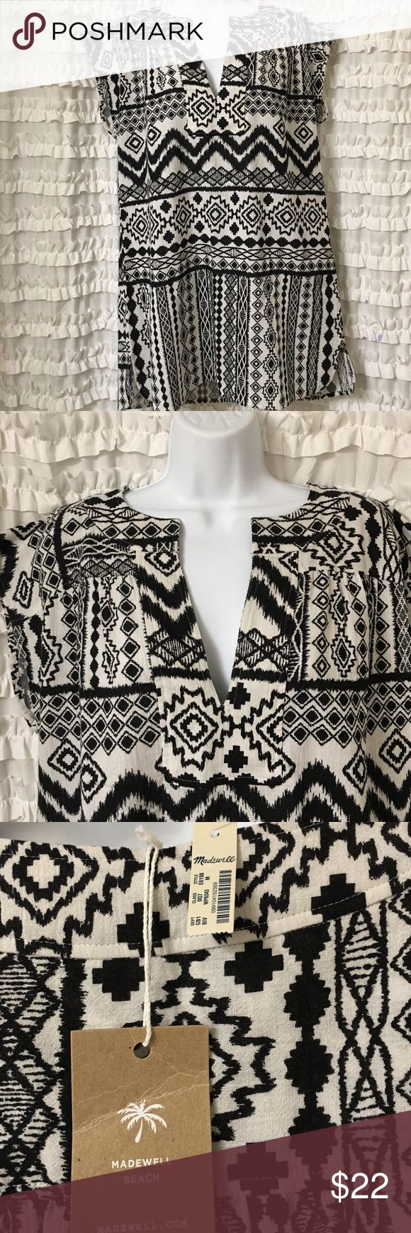 MADEWELL Beach Tunic MEDIUM-Madewell Belize Aztec Coverup--Can be worn as a coverup or as a tunic--NWT--Aztec print with a v neck and small slits on sides-BRAND NEW, NEVER WORN!! Madewell Dresses Mini