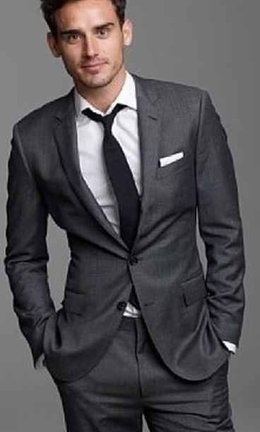 Hugo Boss Mens Charcoal Wool Suit.