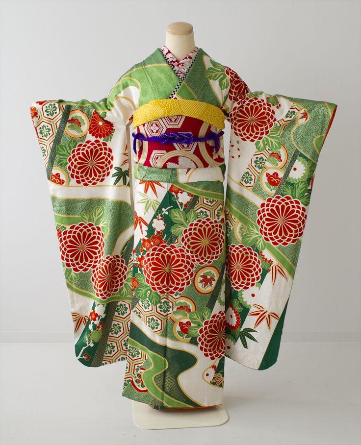 【レンタル・振袖】緑・朱色菊紋 商品詳細 アンティーク着物 振袖レンタルの 縁-enishi-