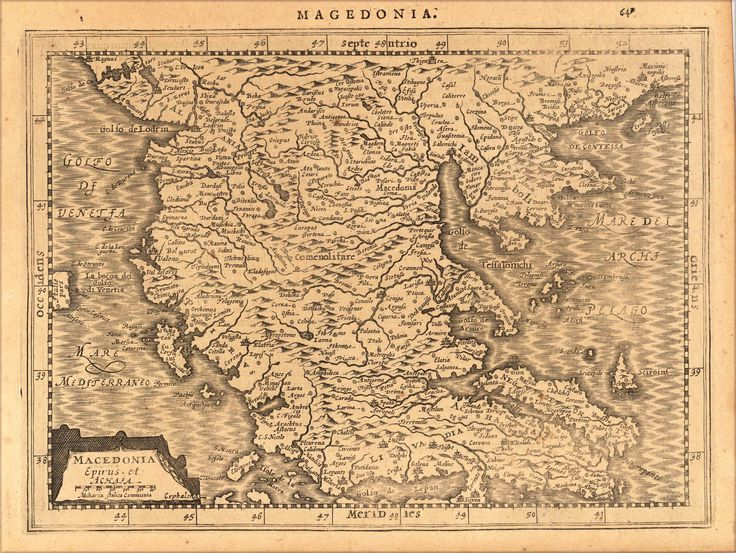 Macedonia  Title: Macedonia Epirus et Achasa Magedonia  Artist: Mercator, Gerard  Published: Amsterdam, I.E. Cloppenburgh,  Date: 1632  Size: [18,8 x 25,3 cm]  Technic: Copper engraving / Uncolored  Description: Copper engraving, uncolored as published. A fine copy in a dark impression, full margins as published.  Condition: Excellent  Reference: Koeman, ME 200  Price: Euro 195 / US $253