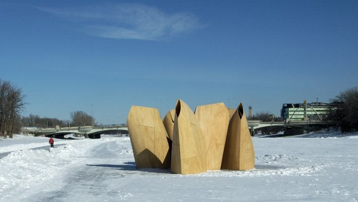 These innovative, temporary shelters were designed to shield ice skaters from chilling winter winds