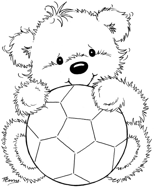 bear with soccer ball -Stamps