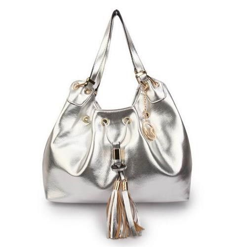 Michael Kors Camden Drawstring Large Silver Shoulder Bags