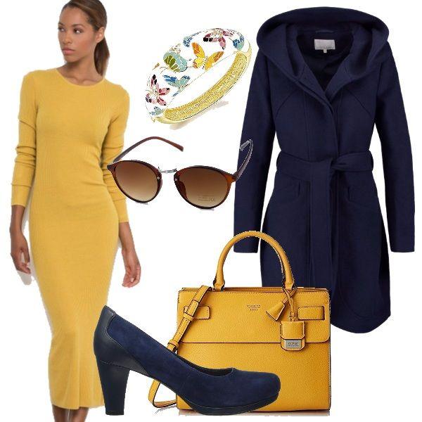 Outfit autunnale composto dai colori caldi e freddi, il giallo dell'abito in maglia, in contrasto con il blu Navy del blazer, scarpa e borsa abbinati. Bracciale glamour e occhiali di gran tendenza. Colori pantone presentati in tutte le sfilate autunno inverno 2016/2017 dai maggiori stilisti.