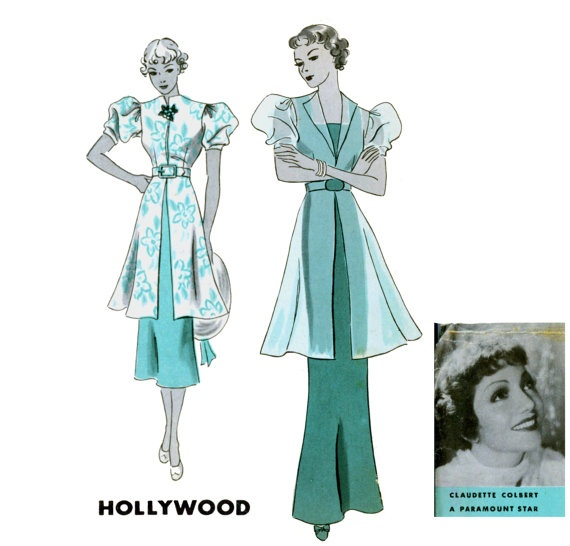 1930s Evening Dress Pattern Hollywood 1160 by CynicalGirl on Etsy,