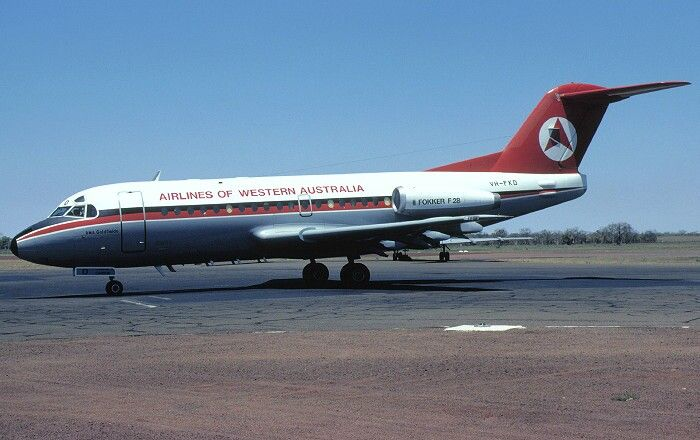 VH-FKD. Airlines of Western Australia - in the 'delta' livery at Perth Airport, November 1981. Image google search