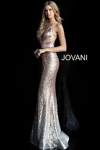 b4547f65 Rose Gold Plunging V Neck Sleeveless Sequin Prom Dress 63439 in 2019 ...