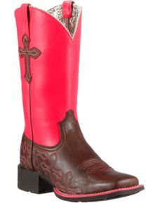 Ariat Crossroads Neon Pink Cowgirl Boots - Square Toe